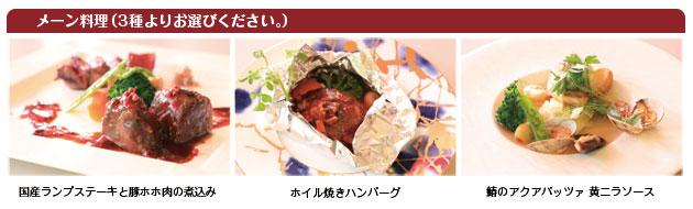 メーン料理(3種よりお選びください。)